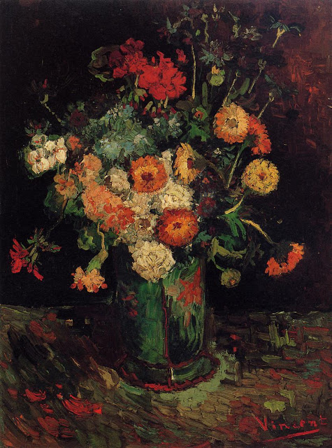 1886 Vase with Zinnias and Geraniums oil on canvas 61 x 45.9 cm